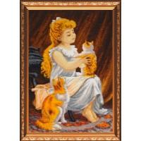 """Набор для вышивания бисером """"Девочка с котенком"""""""