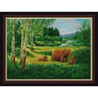 """""""Пейзаж с медведями"""" Рисунок на ткани"""