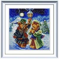 """""""Новогодние мишки"""" Рисунок на ткани"""