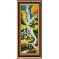 """1379 """"Поселок у реки"""" Рисунок на ткани"""