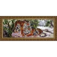 """Амурские тигры"" Рисунок на ткани"