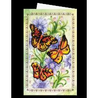 Набор для вышивки бисером «Открытка-конверт» Три мотылька