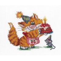 """Набор для вышивания крестиком """"Рыжий кот. День рождения"""""""