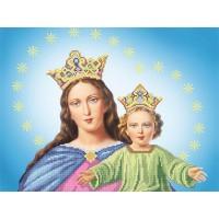 """Рисунок на ткани для вышивания бисером """"Дева Мария с Иисусом"""""""