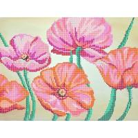 """Рисунок на ткани для вышивания бисером """" Маки"""""""