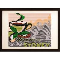 """Рисунок на ткани для вышивания бисером """"... на мятный чай в Сиднее"""""""