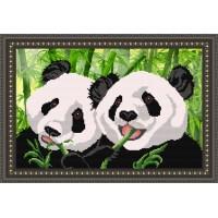 """Рисунок на ткани для вышивания бисером """"Панды"""""""