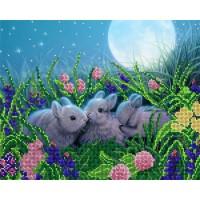 """Рисунок на ткани для вышивания бисером """"Лунные кролики"""""""