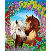 """Рисунок на ткани для вышивания бисером """"Пара лошадей"""""""