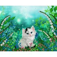 """Рисунок на ткани для вышивания бисером """"Котёнок"""""""