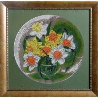 """Рисунок на канве для вышивания бисером """"Нарциссы"""""""