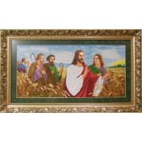 """Рисунок на канве для вышивания бисером """"Иисус с апостолами в поле"""""""