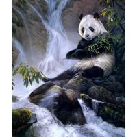 """Схема для вышивания бисером """"Панда у водопада"""""""