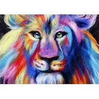 """Картина шерстью """"Радужный лев"""""""