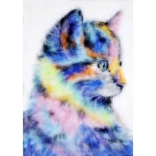 """Картина шерстью """"Радужный котёнок"""""""