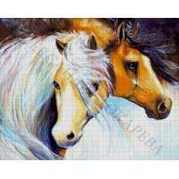 """Авторская схема для вышивания бисером """"Пара лошадей"""""""