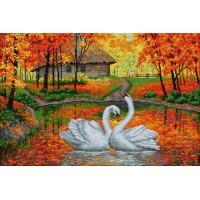 Картина стразами Лебеди на пруду V-10
