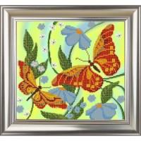 """Рисунок на ткани для вышивания бисером """"Бабочки"""""""