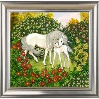 """Рисунок на ткани для вышивания бисером """"Единороги. Волшебный сад"""""""