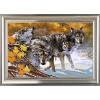 """Рисунок на ткани для вышивания бисером """"Волки"""""""