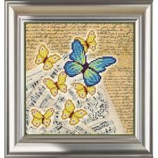 """Рисунок на ткани для вышивания бисером """"Винтаж. Бабочки 3"""""""