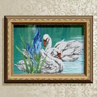 Авторская канва для вышивки бисером (© ArtSolo)  Лебединая пара