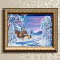 Авторская канва для вышивки бисером (© ArtSolo)  Зимний домик.