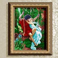 Авторская канва для вышивки бисером (© ArtSolo)  Влюбленные на качелях.