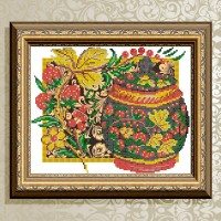 Авторская канва для вышивки бисером (© ArtSolo)  «Хохлома. Клубника»