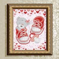 Авторская канва для вышивки бисером (© ArtSolo)  «С рождением девочки» Метрика