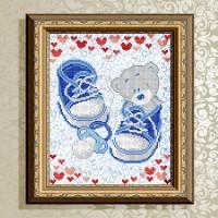 Авторская канва для вышивки бисером (© ArtSolo)  «С рождением мальчика» Метрика