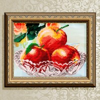 Авторская канва для вышивки бисером (© ArtSolo)  «В хрустале. Яблоки»