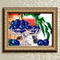 Авторская канва для вышивки бисером (© ArtSolo)  «В хрустале. Сливы»