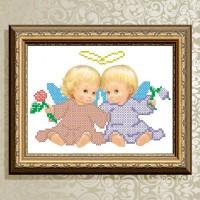 Авторская канва для вышивки бисером (© ArtSolo)  «Ангелочек с цветами»