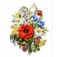 """Вышивка лентами """"Полевые цветы"""""""